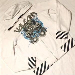 Volcom snake charmer White hoodie zip up sweater